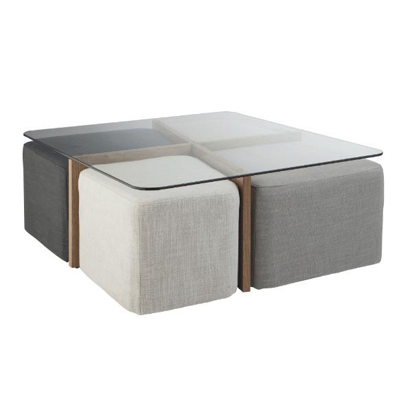 Sous toutes ses formes - Table basse en verre avec pouf ...