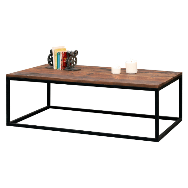 Table basse new soho structure m tallique et plateau en bois massif recycl - Table basse metallique ...