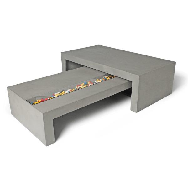 table basse grise effet beton. Black Bedroom Furniture Sets. Home Design Ideas